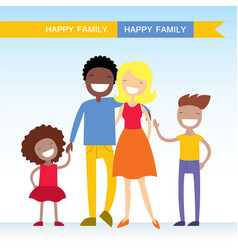 Portrait of four member of mixed race family vector