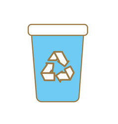 Recycle can trash to care environment vector