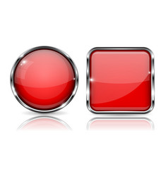 Red buttons with chrome frame round and square vector