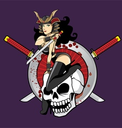 Samurai Girl Pin Up vector image