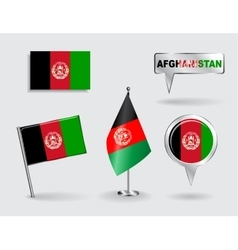 Set afghanistani pin icon and map pointer vector