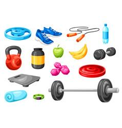 Set fitness equipment sport bodybuilding items vector