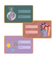 Set of christmas tags vector