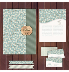 set of floral vintage wedding cards on wood vector image