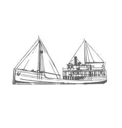 Ship print painting vector