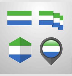 Sierra leone flag design set vector