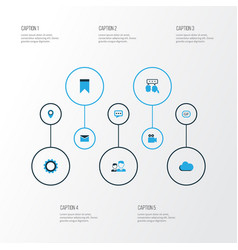 Social colorful icons set collection of cloud vector