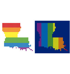 spectrum pixel dotted louisiana state map vector image
