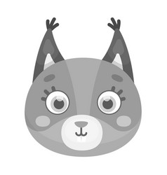squirrel muzzle icon in monochrome style isolated vector image
