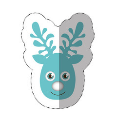 sticker blue silhouette cute face reindeer animal vector image vector image