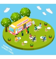 Street Fast Food Truck Isometric Banner vector