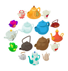 Teapot icons set isometric style vector