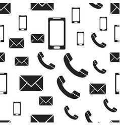 telephone mail smartphone seamless pattern vector image