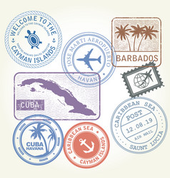 Travel stamps set caribbean sea theme vector