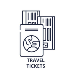 travel tickets line icon concept travel tickets vector image
