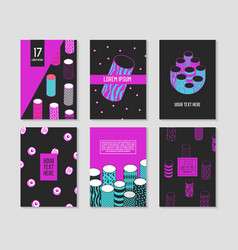 Trendy abstract posters set with cylinder shapes vector