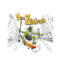 troll jumps on a skateboard in the city wellington vector image