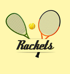 two tennis rackets yellow background image vector image