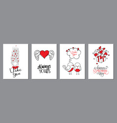 valentines day cards set handwritten lettering vector image