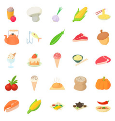 Vegetarian icons set cartoon style vector