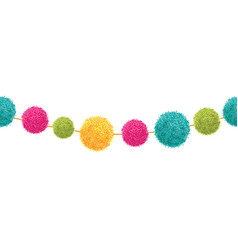 Vibrant happy birthday party pom poms set vector