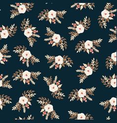 white vintage florals bridal roses on black vector image