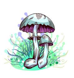 Yellow staining mushroom vector