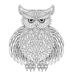Hand drawn zentangle Owl bird totem for adult vector image vector image
