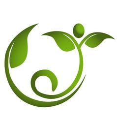 Healthy leaf men fitness logo vector image vector image