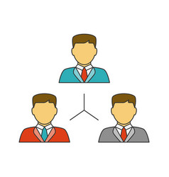 People network flat line icon vector