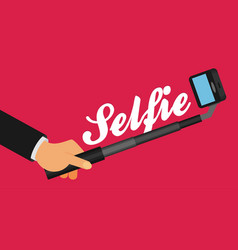 selfie stick with hand flat vector image