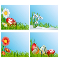 Easter corner decoration set vector image