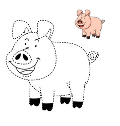 educational game for kids and coloring book-pig vector image vector image