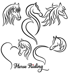 Horse riding set vector image vector image