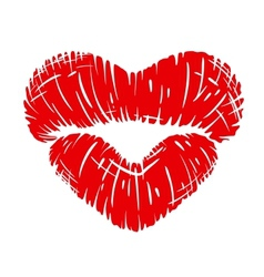 Red lips print in heart shape vector image vector image