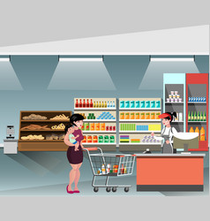 a young cashier woman standing in supermarket vector image vector image