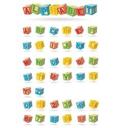 alphabet on a baby cubes vector image vector image