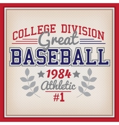 Baseball College Division Badge vector image vector image