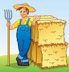 Cartoon Farmer with Pitchfork and Hay bails vector image vector image
