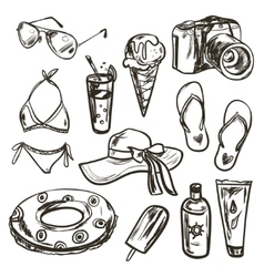 collection of summer elements vector image vector image