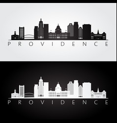 Providence usa skyline and landmarks silhouette vector