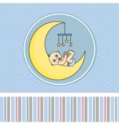 Baby boy birth announcement card vector image