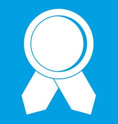 circle badge wih ribbons icon white vector image