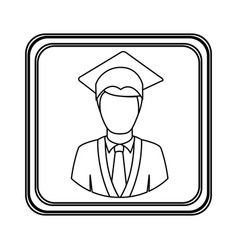 figure emblem man graduation icon vector image