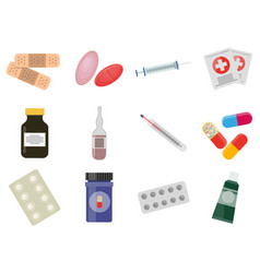 first aid colourful elements collection on white vector image