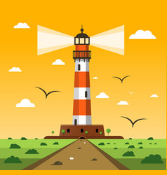 lighthouse sunset nature landscape cartoon vector image vector image