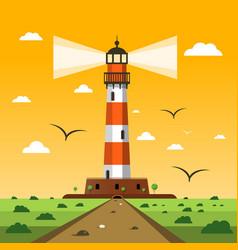 lighthouse sunset nature landscape cartoon vector image