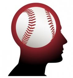 man with baseball brain vector image