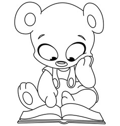 outlined teddy bear reading book vector image vector image