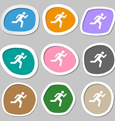 running man icon symbols Multicolored paper vector image